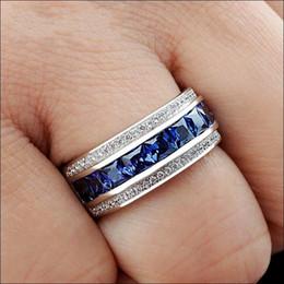 Wholesale Gold Stone Ring For Men - Handmade 14K White Gold Filled Square Simulated Diamond CZ Stone Overlay Eternal Wedding Engagement Ring for Women and Men