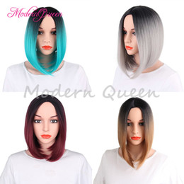 Wholesale Black Heat Resistant Bob Wig - Cheap Short Bob Wig Synthetic Hair Wigs For Black Women Ombre Color 12inch Heat Resistant Fiber Hair wigs 8 Colors Optional Popular Style