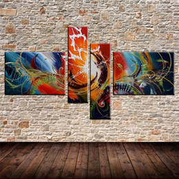 Wholesale Passion Paintings - NEW hot sale 100% hand-painted Passion color Home Decoration Modern best-selling Oil Painting 4pcs set combination gift