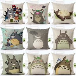 Wholesale Totoro Cushion Cover - 45cm Fanshion Cotton Linen Fabric Throw Pillowcase Cartoon Totoro Hot Sale 18 Inch New Home Coffee House Sofa Back Decor Cushion Cover