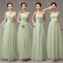 Weiche grüne brautjungfer kleider online-Langes weiches Tüll eine Linie Brautjungfer Kleid hellgrün 2018 bodenlangen Hochzeit Kleid Schnürung