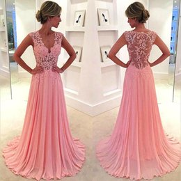 Wholesale Good Quality Prom Dresses - V Neck A line Lace Illusion Top Chiffon Prom Dresses Cheap Good Quality Evening Party Dresses Factory Custom Made