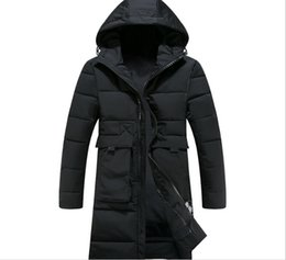 Wholesale Green Parkas For Men - 3XL Long Thick Winter Coat Men New Clothing Jackets Business Solid Parka For Mens Fashion Overcoat Outerwear With Two Big Pockets T170911