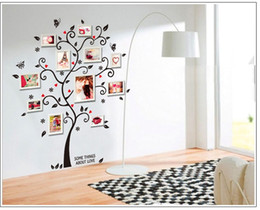 Wholesale Black Photo Tree Wall Decal - New Chic Black Family Photo Frame Tree Flower Butterfly Heart Mural Decoration Wall Sticker Decal Room