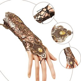 Wholesale Women Goth Fashion - 2 Pcs Women Steampunk Style Lace Fingerless Long Gloves Lace Hollow-Out Chain Bracelet Skid Resistant Gloves Goth Party Costumes