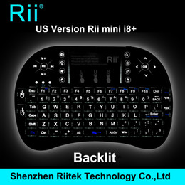 2019 pc rii bluetooth Nuevo caliente! Rii mini i8 + Teclado retroiluminado inalámbrico 2.4G RF Qwerty Touchpad gaming Teclado para Mini PC Laptop Tablet Andorid TV box rebajas pc rii bluetooth