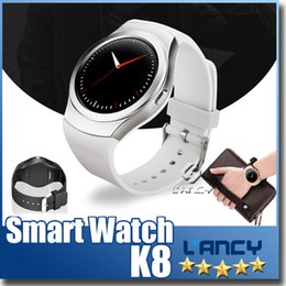 Wholesale Iphone Rating - SIM Intelligent Wearable Devices V365 MTK2502 Bluetooth 4.0 K8 Circular Smart Watch For Iphone IOS Android Phone At retail
