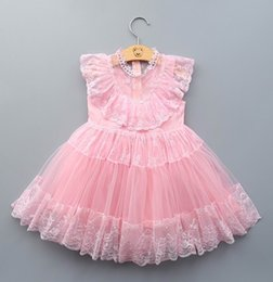 Wholesale New Sweet Girls - 2016 Summer New Girl Dresses Lace Sleeveless Princess Dress Sweet Party Dress Children Clothing 3-8T 504778