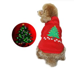 Wholesale Wholesale Led Clothing - Merry Christmas Cos Colorful LED Light Dog Clothing Red Pet Comfortable Hoodie XS S M L Four Size