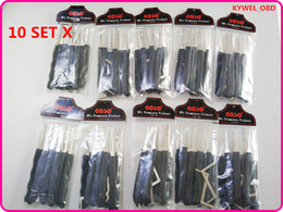 Wholesale tension wrenches - 10 Set GOSO Black 9 pcs hook lock pick set with Tension wrench for dimple locks hot sale