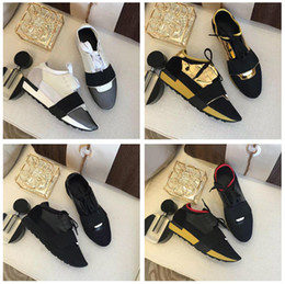 Wholesale Wide Black Lace - 2018 New Low Cut Patchwork Leather Mesh Sneaker Wholesale Luxury Brand Kanye West Race Runner Casual Shoe Man Woman Trainer Shoes Size 46