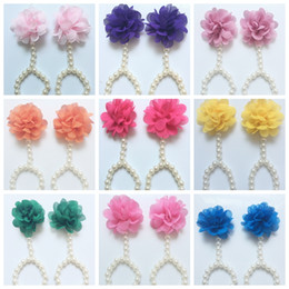 Wholesale Chiffon Sandals - 2016 newborn baby Chiffon Flowers headband Pearl flower shoes flowers baby barefoot sandals Photography Props children shoes wholesale