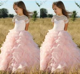 Wholesale White Skirts For Girls - Pink Princess Ball Gown Flower Girl Dresses Sheer Lace Jewel Neck Ruffles Skirt Girls Communion Dress Kids Evening Prom Gowns For Wedding