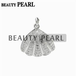 Wholesale Sterling Pendant Round - 5 Pieces Sea Shells Design Silver Pendant Blank for Round Pearl Pendant Mounting Zircon 925 Sterling Silver