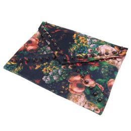 Wholesale Vintage Oil Painting Chain - New Arrival Women Rivets Vintage Women Rivets Handbag Flower Oil Painting Envelope Bag Shoulder Bag