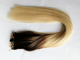 Wholesale Dip Dye Hair Extensions - HLHair 100 Gram Per Package Color #6 Fading to Color 613 Dip Dye Ombre Tape Hair Extensions of Remy Tape in Extensions