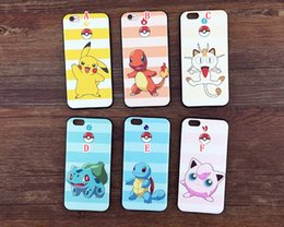 Wholesale Pokemon Iphone - For Iphone 6 6S 4.7 Plus 5.5 I6S 3D Poke Pikachu Silk Soft TPU Case Cartoon pocket monster Silicone Gel SQUIRTLE BULBASAUR Cover Skin Luxury