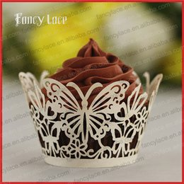 Wholesale Cheap Cupcake Cakes - wholesale Colorful Cup Cake Liners laser cut Butterflies Patterns Wedding Valentine Cheap Cupcake Wrappers Fancy Party Decorations