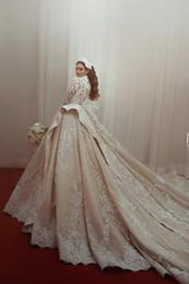 dubai neues design gold Rabatt Neues Design Dubai Arabisch Luxus Ballkleid Brautkleider High Neck Langarm Spitze Appliques Hochzeit Brautkleider Kathedrale Zug