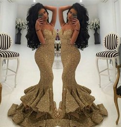 Wholesale Spagetti Evening Dress - 2016 Sexy Gold Sequined Prom Gowns Mermaid Sweetheart Spagetti Straps Sequins Beads Sleeveless Sweep Train Evening Dresses