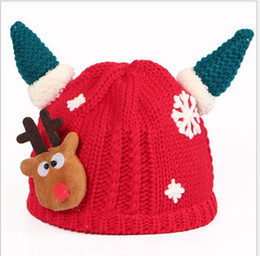 Wholesale Girs Set - Winter Sets Baby Crochet Beanie Wool Hat Cartoon Horns Christmas Hat Wholesale Wool Keep Warm Cap 2016 Boys Girs 0-5 years Hot Sale