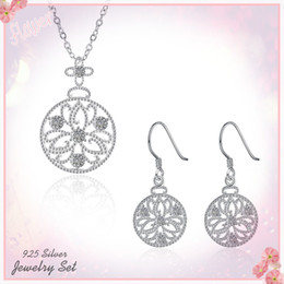 Wholesale Valentine Engagement - Vintage 925 Silver Necklaces Earrings Jewelry Sets Flower Pattern Luxury Charm Bling Pendants Chokers Valentine Women Romantic Gift