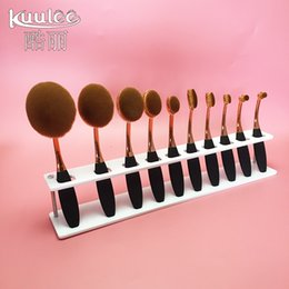 Wholesale Toothbrush Holder Designs - Kuulee Professional 10 Hole Drying Rack Storage Display Bracket Shelf Holder Designed for Toothbrush Shape Soft Oval Make Up Brushes Set