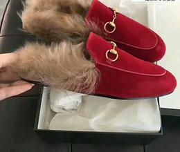 Wholesale leather kangaroo - European classic luxury style, men's and women's slippers, Milan style, Australian kangaroo wool, comfort, breathable leather, fans, Rhinest
