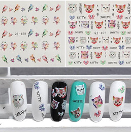 Wholesale Nail Art Bird Sticker - 3D Nail Art Water Transfer Stickers Cute Cat and Bird Design t Nail Art Decals For Ladies Manicure Decal Tips