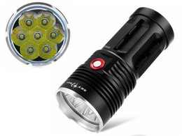 Wholesale Led Lighting For Night Fishing - New SkyRay King 7*CREE XM-L T6 LED Flashlight 8400lm 18650 Torch Light For Camping,Hiking,Walking,Night Riding,Household Use