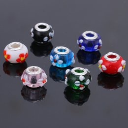 Wholesale Acrylic Flower Beads 14mm - 14MM Acrylic European Charms Beads Silver Plated Cord Big Hole Loose Bead Fit Pandora Charms Bracelet & Bangle Jewelry Finding