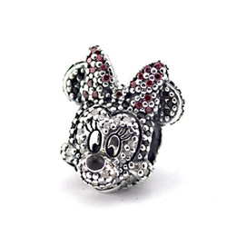 Wholesale Pandora Pave Heart Charms - Fits pandora Charms Bracelet 100% 925 Silver Pave Crystal Beads Sparkling Minnie Portriat Sterling-Silver-Jewelry Charm Jewelry