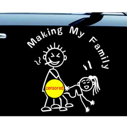 """Wholesale high reflective stickers - Stick Figure Making my Family decal windowfunny sticker car Nobody Cares 6"""" high   Reflective silver"""