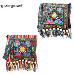 Wholesale Chinese Tassels - THINKTHENDO Chinese Women Hmong Thai Embroidered Handbag Hill Tribe Totes Messenger Tassels Bag Boho Hippie Handbag