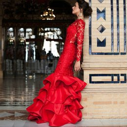 Wholesale Custom Made Club Dresses Online - New fashion classic Mermaid Trumpet Fashionable Red Long Evening Dress Sexy Backless Lace Long Sleeve Prom Formal Dresses Online