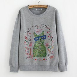 Wholesale Teenage Clothes For Wholesale - Wholesale- Teenage print tops sweatshirts for big girls long sleeve tees 14T 16T 18T college clothes fit university students vintage style
