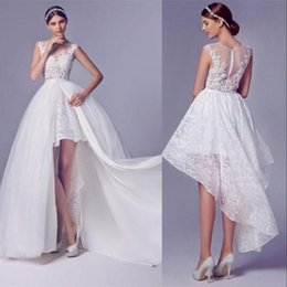 Wholesale White Tull Dress - Sexy Short Front Long Back Dresses Illusion Bodice Prom Dress Sheer Tull Lace Appliques Top Over Skirt Evening Party Gowns Custom Made
