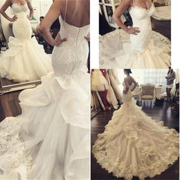 Wholesale Elegant Sweetheart Mermaid Gown - Vintage Lace Sweetheart Mermaid Trumpet Wedding Dresses Custom Size Sweep Train Backless Bridal Gowns Elegant Vestido de Fiesta