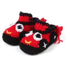 Wholesale Crochet Boys Slippers - Crochet Baby Shoes First Walker Handmade Boots Newborn Baby Mccasins Prewalker Shoes Toddler Shoes Baby Girls Boys Slippers Infant Knitted