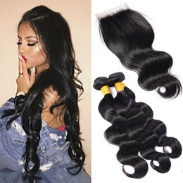 wavy permed hair Promo Codes - brazilian body wave hair 3 bundles with closure remy virgin hair unprocessed wet and wavy body wave hair extensions with lace closure