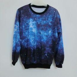 Wholesale Blouse Galaxy - Wholesale- 2016 Women Autumn Space print Pullovers Harajuku galaxy sweatshirts Loose Pullovers Hoodies top blouse