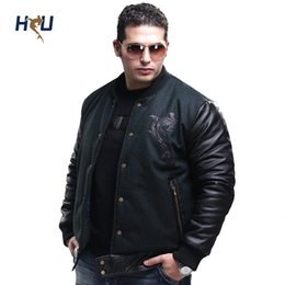 Wholesale Leather Sleeved Jackets Men - Fall-2015 Winter Brand New Big Size Parkas,Cotton Woolen Baseball Coat For Man,Casual Mens Leather Sleeved Bomber Jacket