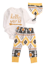 Wholesale Kids Floral Leggings - Wholesale- 3 PCS Autumn Winter Newborn Infant kids long sleeve Floral set Baby Boys Girls Clothes Hat+Romper+Pant Leggings 3pcs Outfits Set