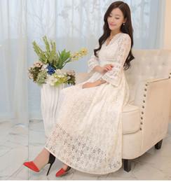 Wholesale Free Midi - 2016 Summer Fashion Vintage Princess Lace Long Dresses Three Quarter Sleeve Elegant V-Neck Ruffles Women Dress Hot Sale free shipping
