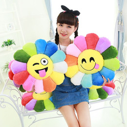 Wholesale Sunflower Chair - Colorful flowers cushion Sunflower emoji pillow office chair sofa pillow custom cushions decorative pillows home decor