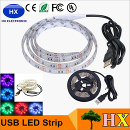 Wholesale Tent Christmas Lights - DC 5V Led Strips 5m RGB SMD5050 60LED m Flexible LED Strip for TV Car Computer Bike Bicycle Tent Christmas Festival Party Lighting