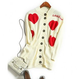 Wholesale Heart Sweater Cardigan - Wholesale- Europe and the United States women's new autumn 2016 peach heart cardigan knitting sweater coat