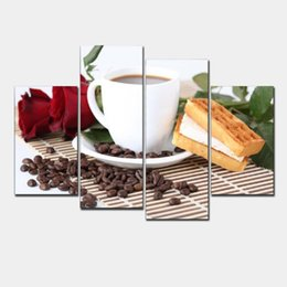Wholesale Picture Photo Frame Wall Set - Canvas Print Painting Artwork, Cafe styles Coffee Beans CFf025, HD 4 Panels Set Wall Art Picture Photo Gift for Coffee Shop H 028