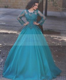 Wholesale Turquoise Long Ball Gowns - Dark Turquoise Long Sleeves Prom Dresses 2017 Lace Appliques Sequins Women Ball Gown Formal Party Gowns Jewel Floor Length Evening Dress