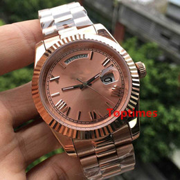 Wholesale womens christmas watch - Rose Gold Men Geneva Watch Steel Roman Dial AAA Womens Luxury Brand Automatic Day Date Women's Fashion Mens Watches WristWatches Reloj